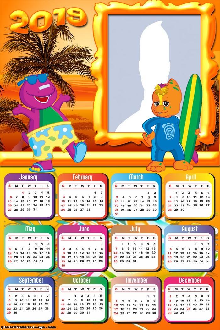 Barney Drawing Calendar 2019
