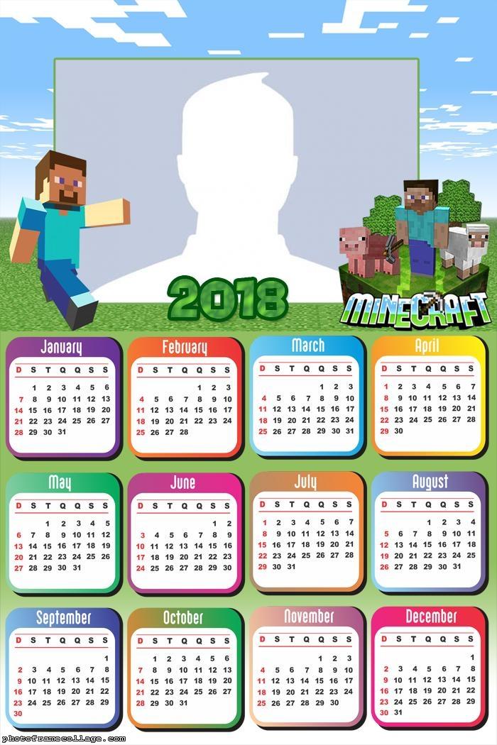 Calendar 2018 Minecraft