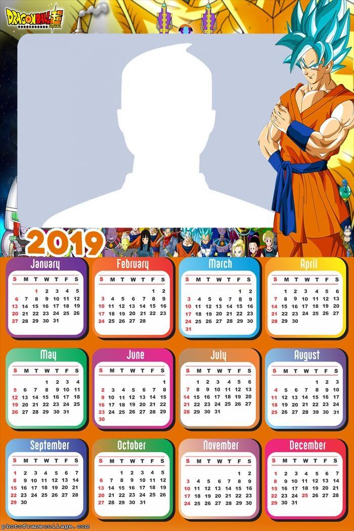 Goku Super Sayajin Calendar 2019