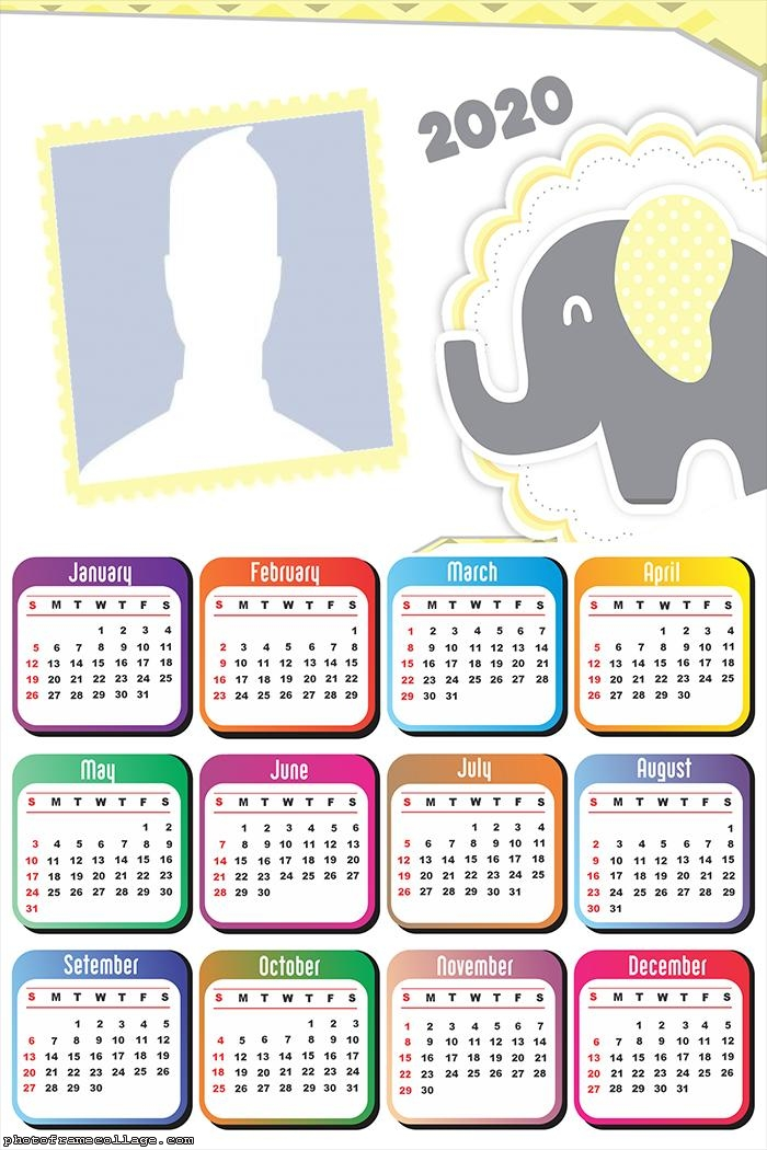 Photo Frame with Little Elephant Calendar 2020