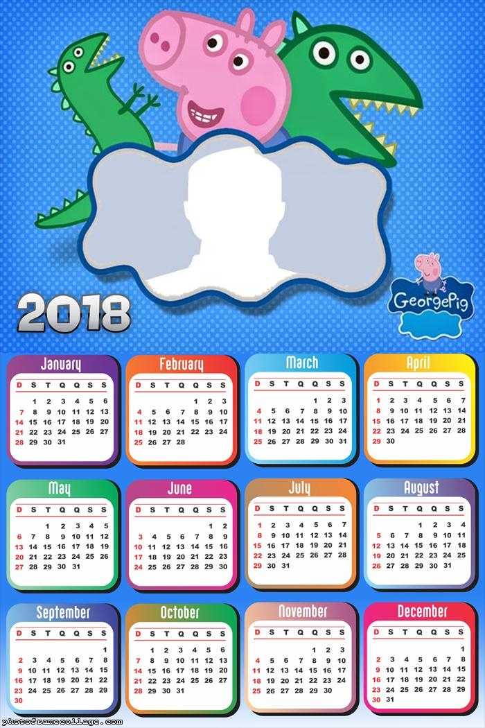Calendar 2018 George Peppa Pig