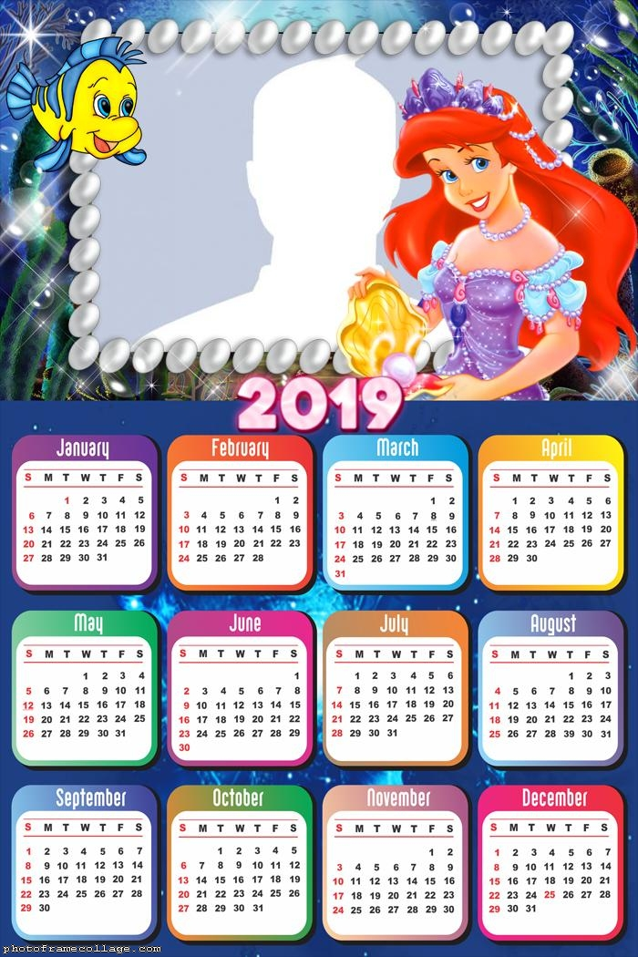 Little Mermaid Characters Calendar 2019