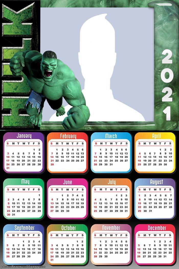Calendar 2021 Incredible Hulk