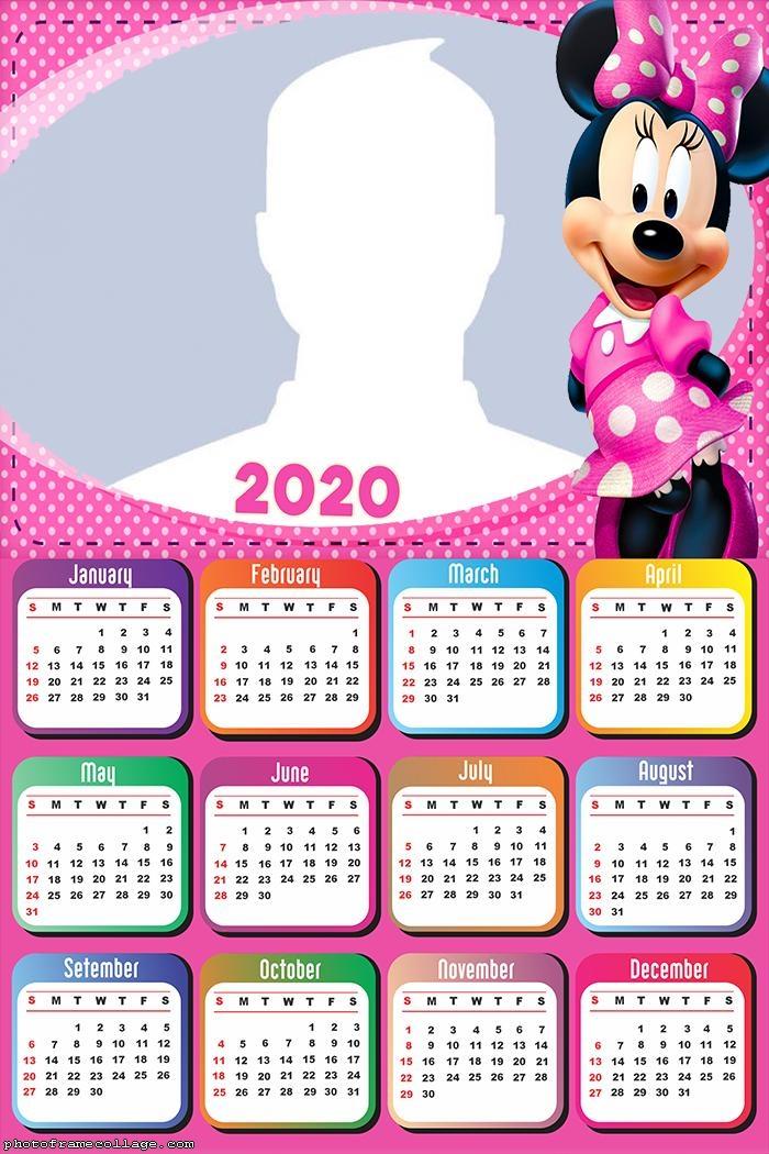 Minnie Mouse Pink Calendar 2020