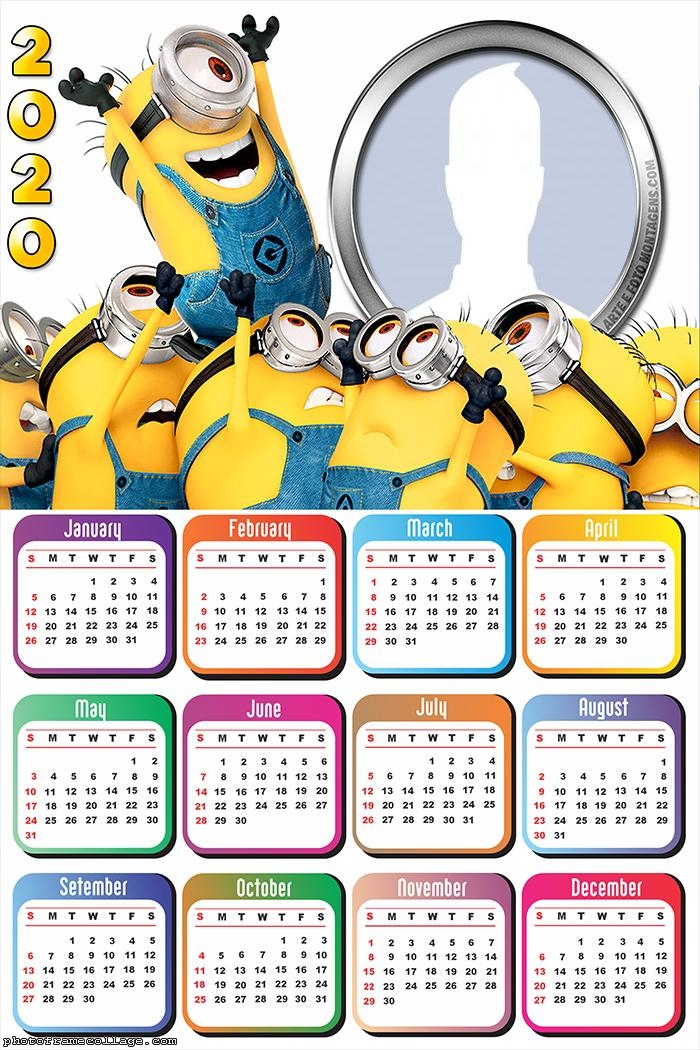 Minions Calendar 2020 Frames for Pictures Free
