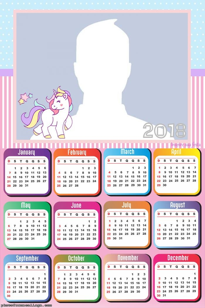 Calendar 2018 Unicorn