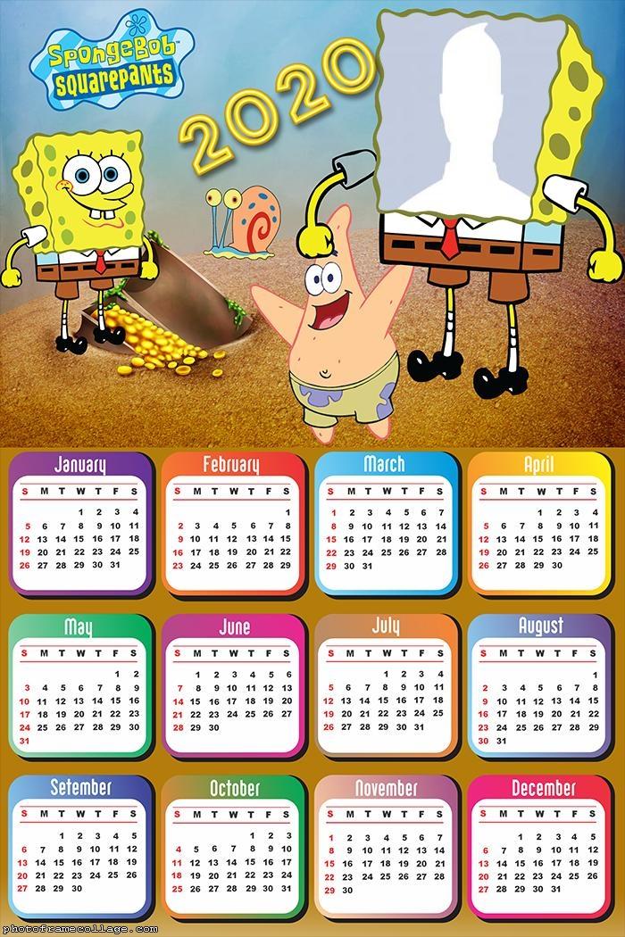 Photo Collage Maker SpongeBob Calendar 2020