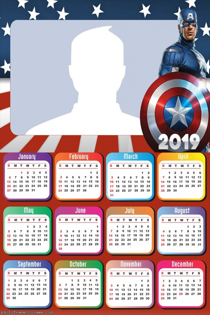 Captain America Movie Calendar 2019
