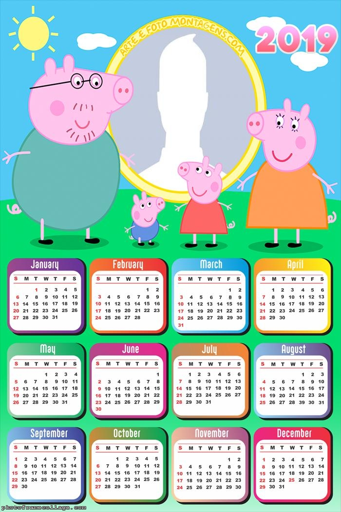 Family the Peppa Pig Calendar 2019