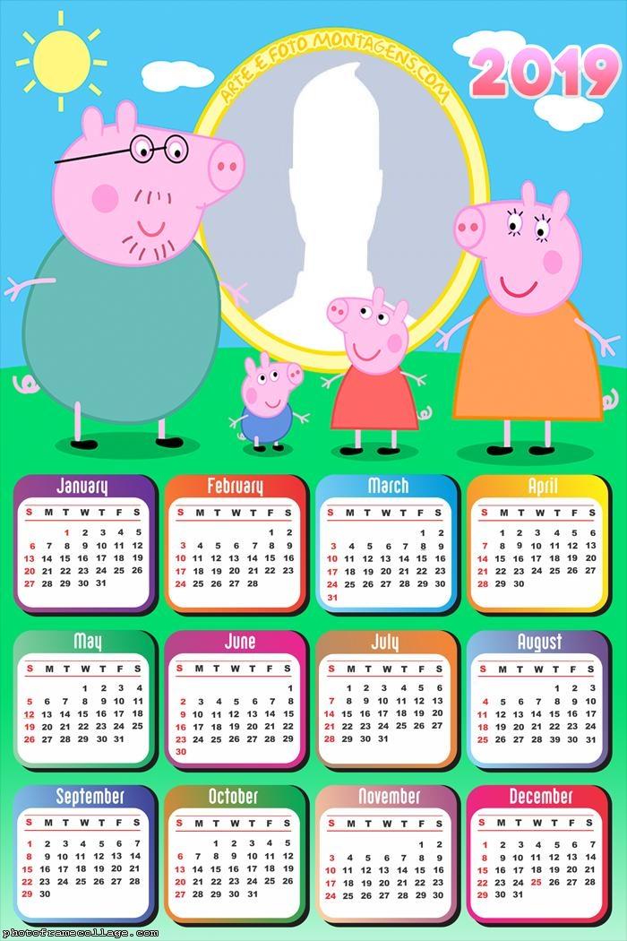 Family the Peppa Pig Calendar 2019