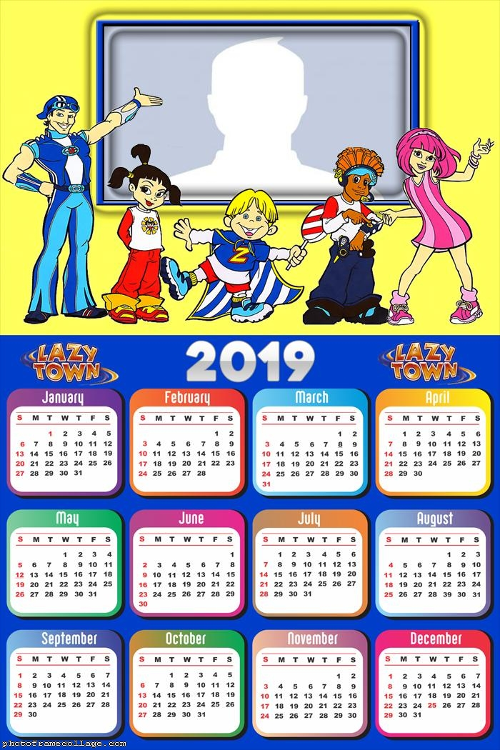 Lazy Town Cartoon Calendar 2019