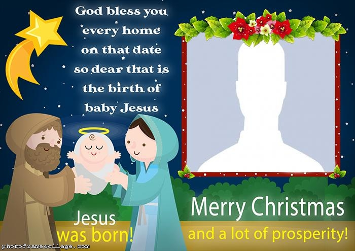 Jesus Was Born Merry Christmas Photo Collage