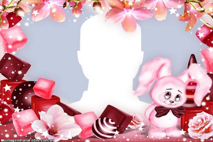 Frame Pink Easter Bunny