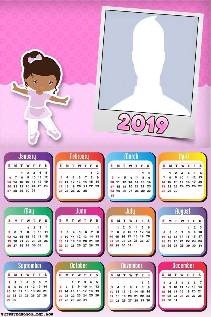 Ballet Dancer Cartoon Calendar 2019