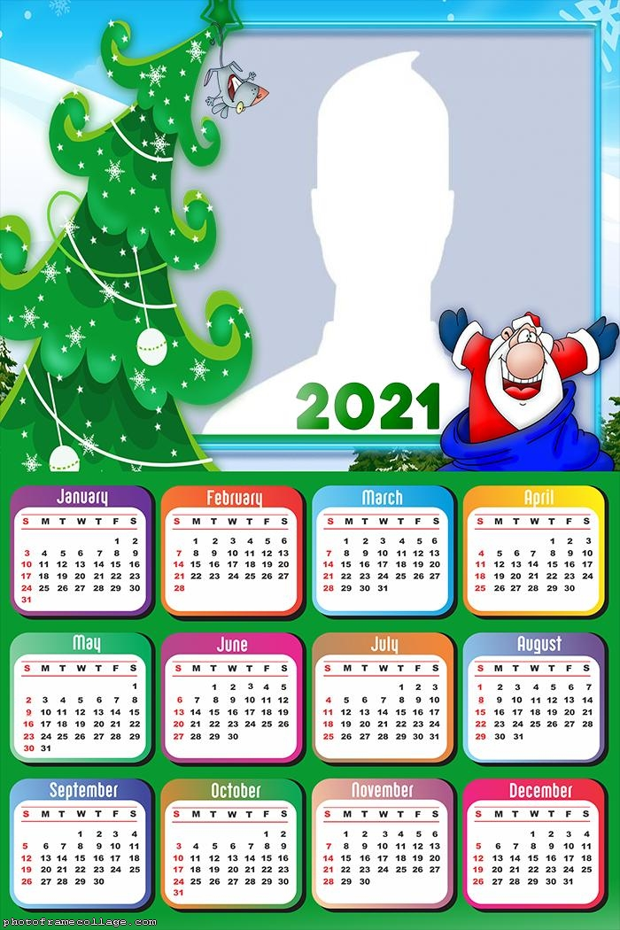 Calendar 2021 Santa Claus Cartoon