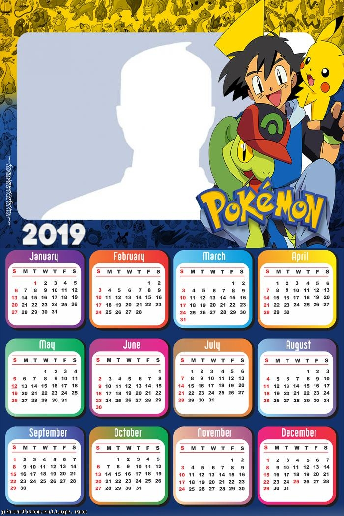2019 Pokemon Calendar Pokemon Games Calendar 2019 | Photo Frame Collage