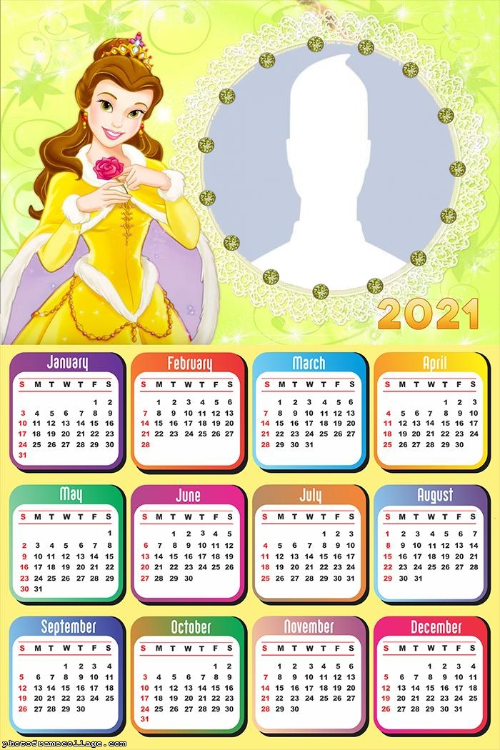 Calendar 2021 Princess Belle Drawing