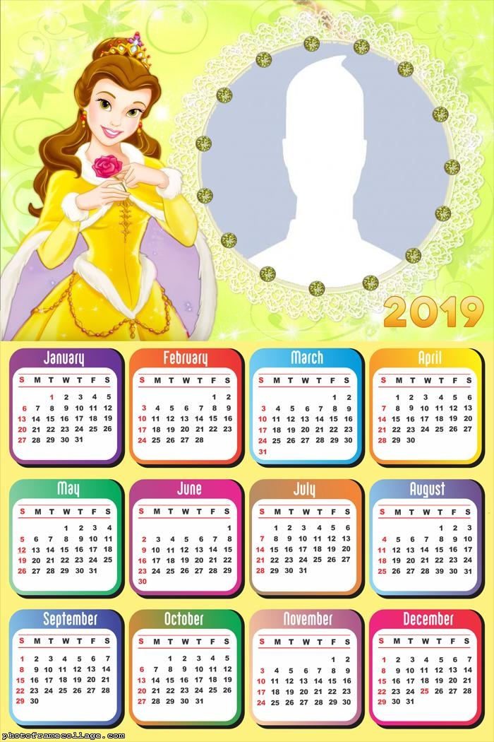 Belle Princess Disney Calendar 2019
