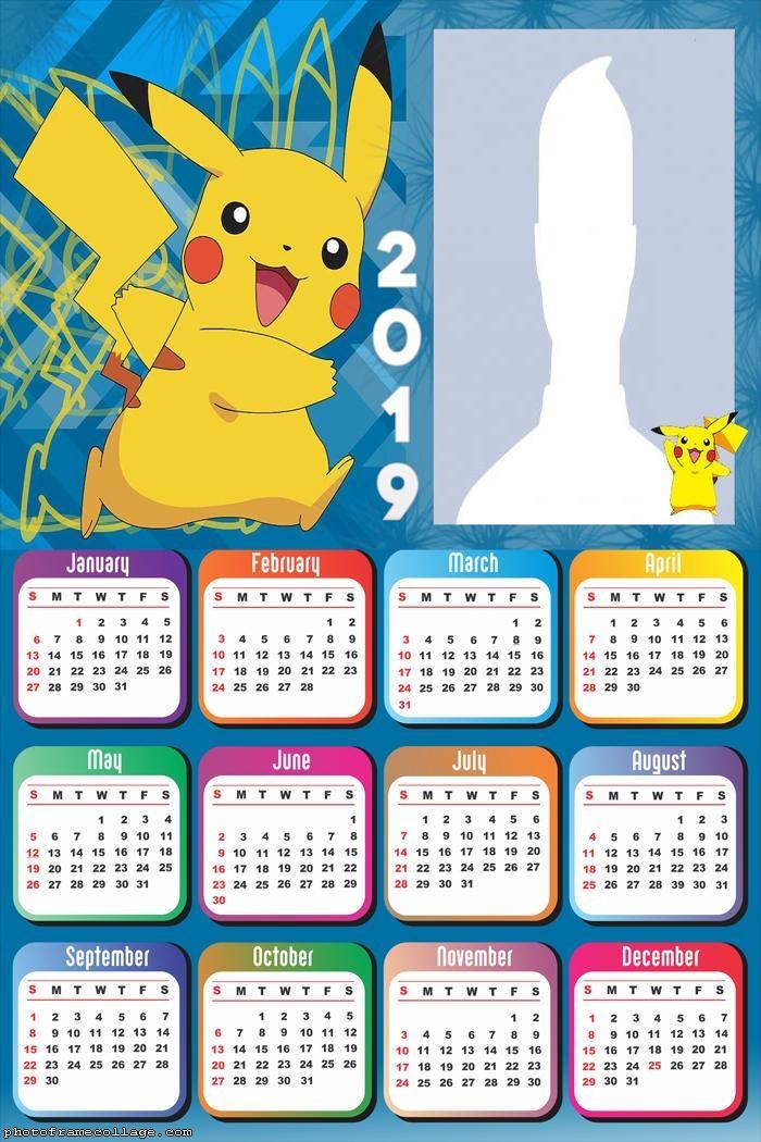 Picachu Calendar 2019