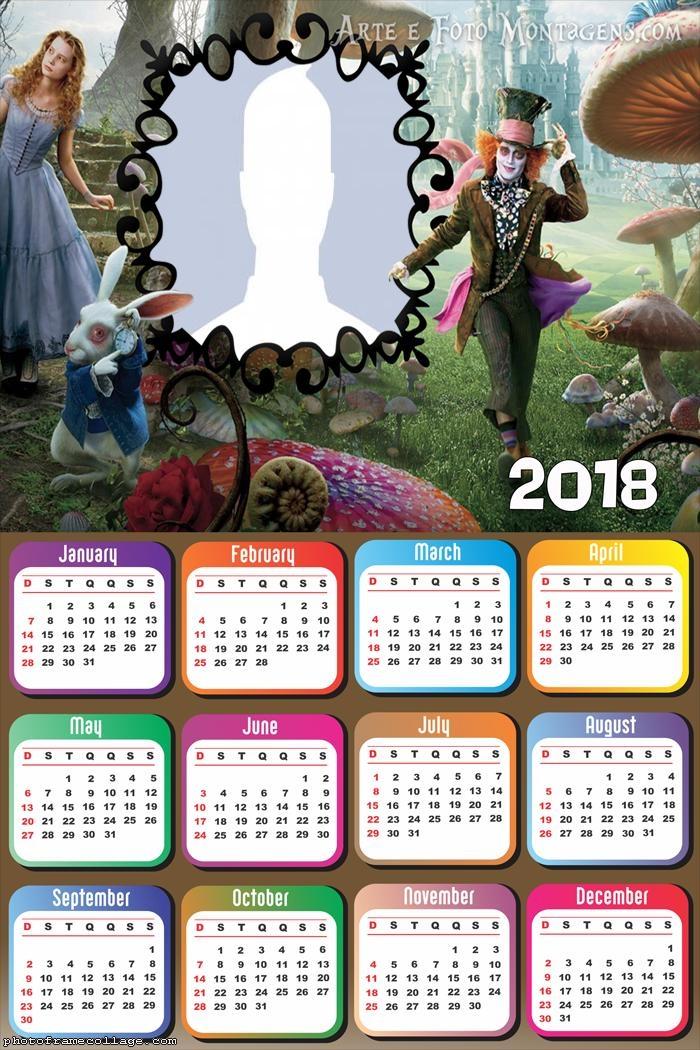Calendar 2018 Alice in Wonderland