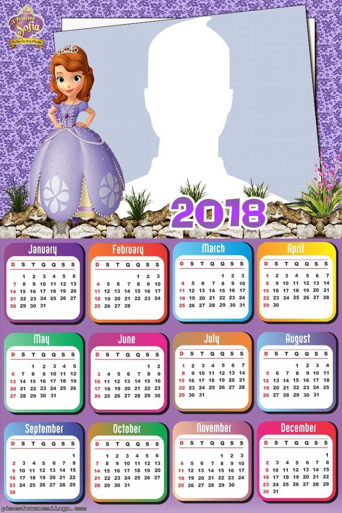 Calendar 2018 Princess Sofia