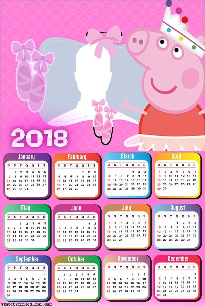 Calendar 2018 Peppa Pig Ballet Dancer