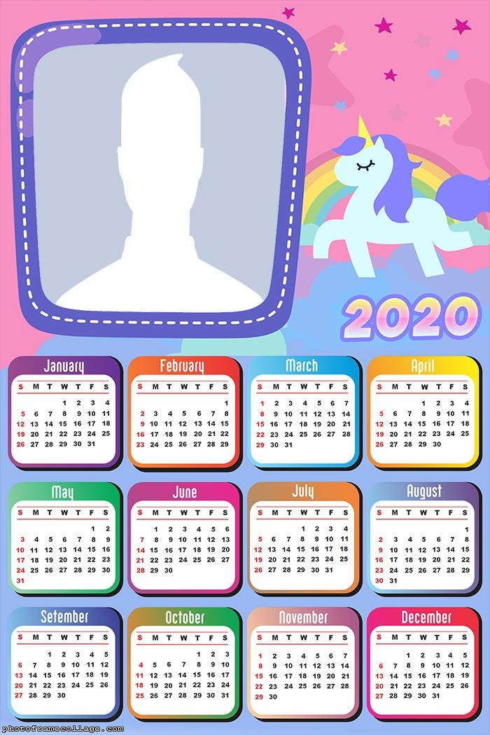 Colorful Unicorn Calendar 2020