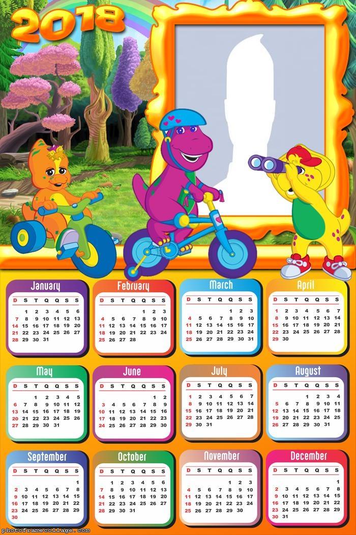 Calendar 2018 Barney Photo Frame Collage
