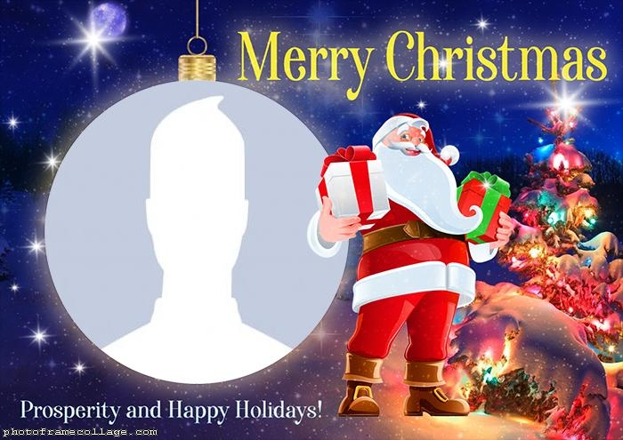Frame Picture Santa Claus Merry Christmas