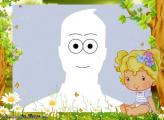 Photo Collage Little Girl Cartoon