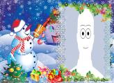 Blue Snowman Picture Frame