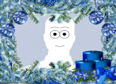Christmas Blue Candles Photo Collage