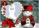 Christmas Snowman Photo Collage Frame