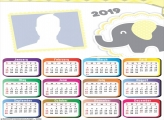 Yellow and Gray Elephant Calendar 2019