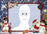 Santa Claus and Kids with Snowman Montage Online